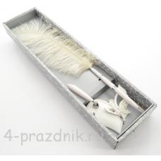 Ручка-перо на подставке Сердце с бабочкой rupe-001