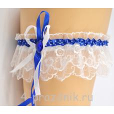 Подвязка с лентой синей в горошек pod005