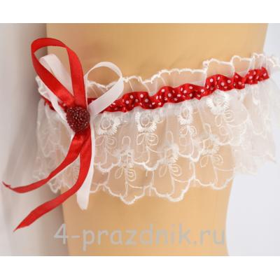 Подвязка с лентой красной в горошек pod006