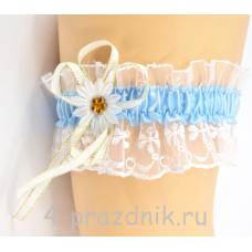 Подвязка с голубой лентой pod013