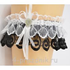 Подвязка черно-белая pod025