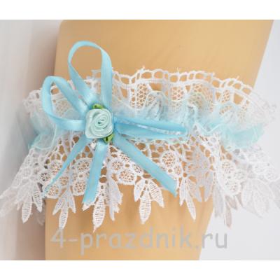 Подвязка с голубой лентой pod027