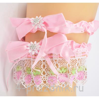 Подвязка двойная, розовая pod057