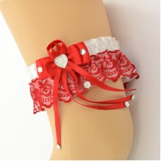 Подвязка красно-белая pod063