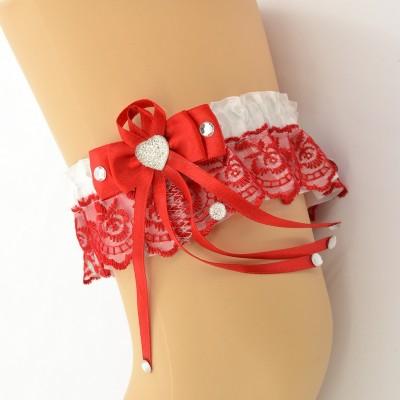 Подвязка красно-белая pod063 оптом