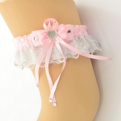 Подвязка розово-белая pod067 оптом
