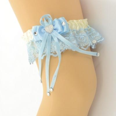 Подвязка голубо-бежевая pod068 оптом