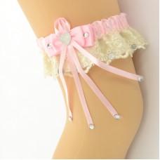 Подвязка розово-бежевая pod069