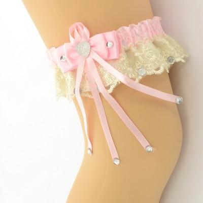 Подвязка розово-бежевая pod069 оптом
