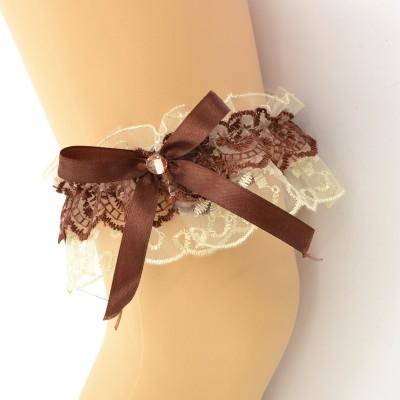 Подвязка шоколадно-бежевая, двойная pod078 оптом
