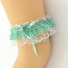 Подвязка бело-зеленая, двойная pod080