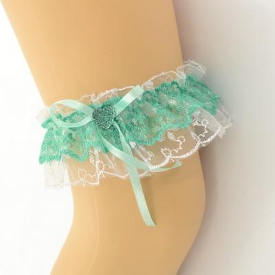 Подвязка бело-зеленая, двойная pod080 оптом