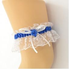 Подвязка белая с синей лентой pod082