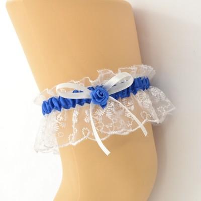 Подвязка белая с синей лентой pod082 оптом