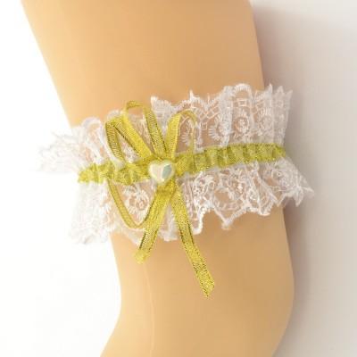 Подвязка белая с золотой лентой pod087 оптом