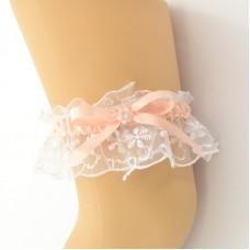 Подвязка белая с персиковой лентой, pod088