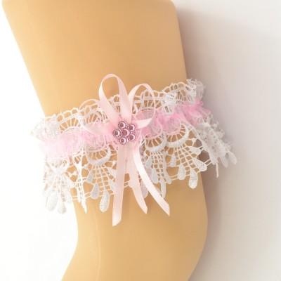 Подвязка белая с розовой лентой, шитье pod089 оптом