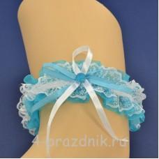 Подвязка невесты синяя pod101