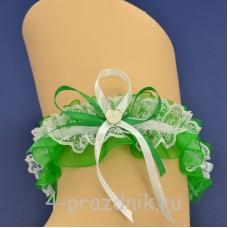 Подвязка невесты зеленая pod102