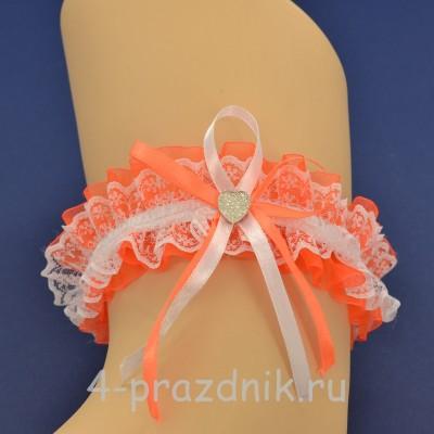 Подвязка невесты оранжевая pod104 оптом