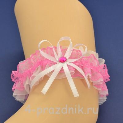 Подвязка невесты бело-розовая pod105 оптом