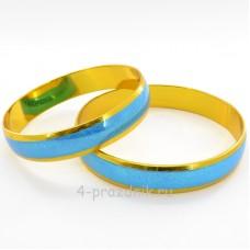 Кольца - заготовка с голубой  полосой zag003