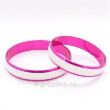 Кольца - заготовка розовая с белой полосой zag005