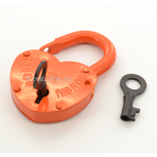 Замок свадебный большой с ключами, оранж
