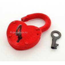 Замок свадебный бархатный большой с ключами, красный