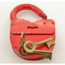 Замок свадебный амбарный с ключами, красный