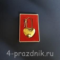 Замок свадебный с рисунком амурчик,  с ключами, золотистый zam034