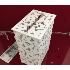 Шкатулка деревянная с бабочками (белая) 10х15х23,5 см.