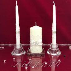 """Свадебные свечи для молодоженов """"Два сердца"""" белая"""